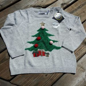 George 3T Pom Pom Christmas Tree Sweater